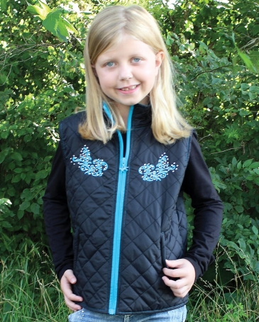 Cowgirl Hardware® Girls' Horse Scroll Quilted Vest