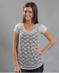 Vocal® Ladies' Grey V-neck Lace Top
