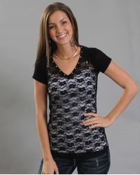 Vocal® Ladies' Black V-neck Lace Top