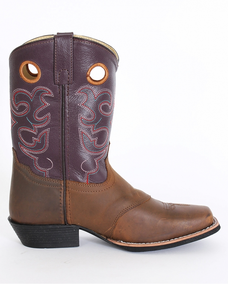 Smoky Mountain® Kids' Brown Purple Western Boots - Youth - Fort Brands