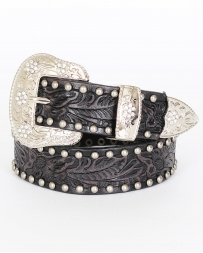"3D® Boys' 1 1/4"" Black Floral Embossed With Silver Studs Belt"