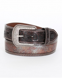 "3D© Men's 1 1/2"" Chocolate With Turquoise Brown Inlay Belt"