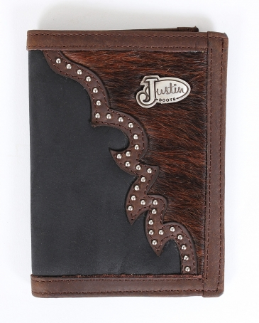 Justin® Men's Black Distressed Bi-Fold Wallet