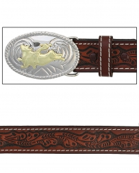 Boys' Tooled Belt With Bull Buckle