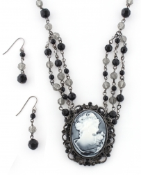 COSTAR® Ladies' Cameo Black Necklace And Earring Set