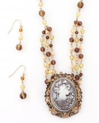 COSTAR® Ladies' Cameo Brown Necklace And Earring Set