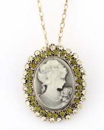 COSTAR® Ladies' Cameo Green Necklace And Brooch Set