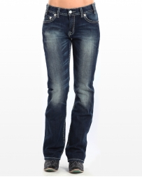Rock & Roll Cowgirl® Ladies' Boyfriend Fit In Dark Vintage Jeans