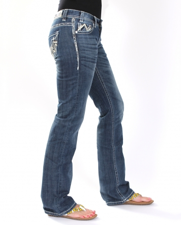 Rock And Roll Cowgirl® Ladies' Chevron & Leather Riding Jeans