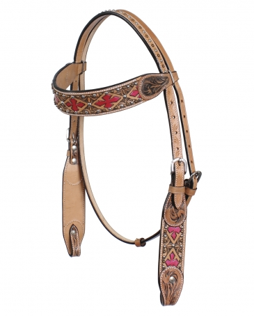Top Hand Tack® Browband Headstall With Floral Tooling