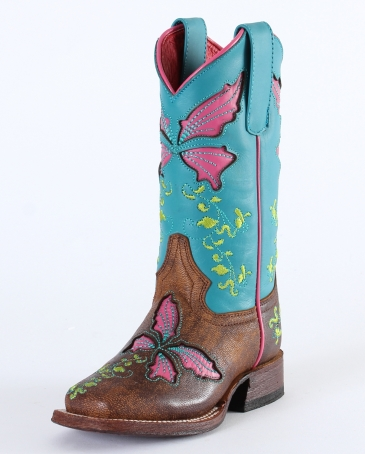 Macie Bean® Kids' Butterflies Turquoise Sinsation Boot