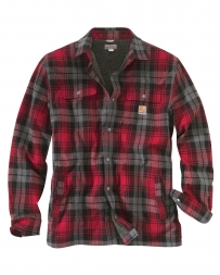 Carhartt® Men's Hubbad Sherpa-lined Shirt Jac - Dark Crimson