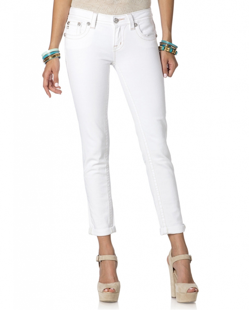 Miss Me® Ladies' Golden Girl Cuffed White Skinny Jeans - Fort Brands