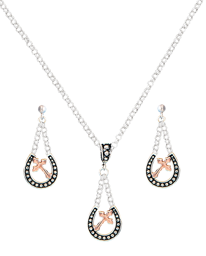 Montana Silversmiths Las Horseshoe With Cross Earring Necklace Set