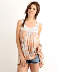 Mystree® Ladies' Lace Yoke Printed Tank