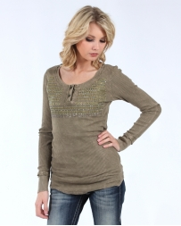Vocal® Ladies' Long Sleeve Mineral Wash Top