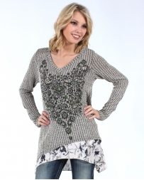 Vocal® Ladies' Long Sleeve Print and Stone Top