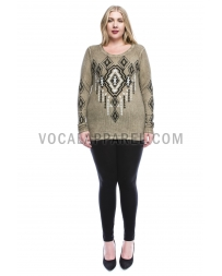 Vocal® Ladies' Curvy Long Sleeve Print Top