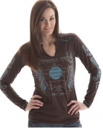 Cowgirl Tuff® Ladies' Brown Thunderbird Wings Shirt