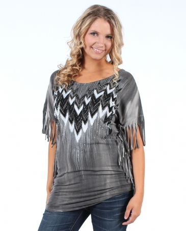 Vocal® Ladies' Aztec Fringe Long Tee