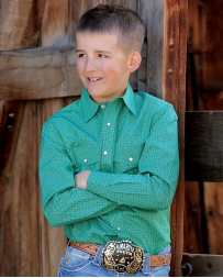 Cinch® Boys' Green Patter Snap Shirt