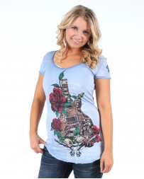 Revelations® Ladies' Guitar Rose And Pistols Tee