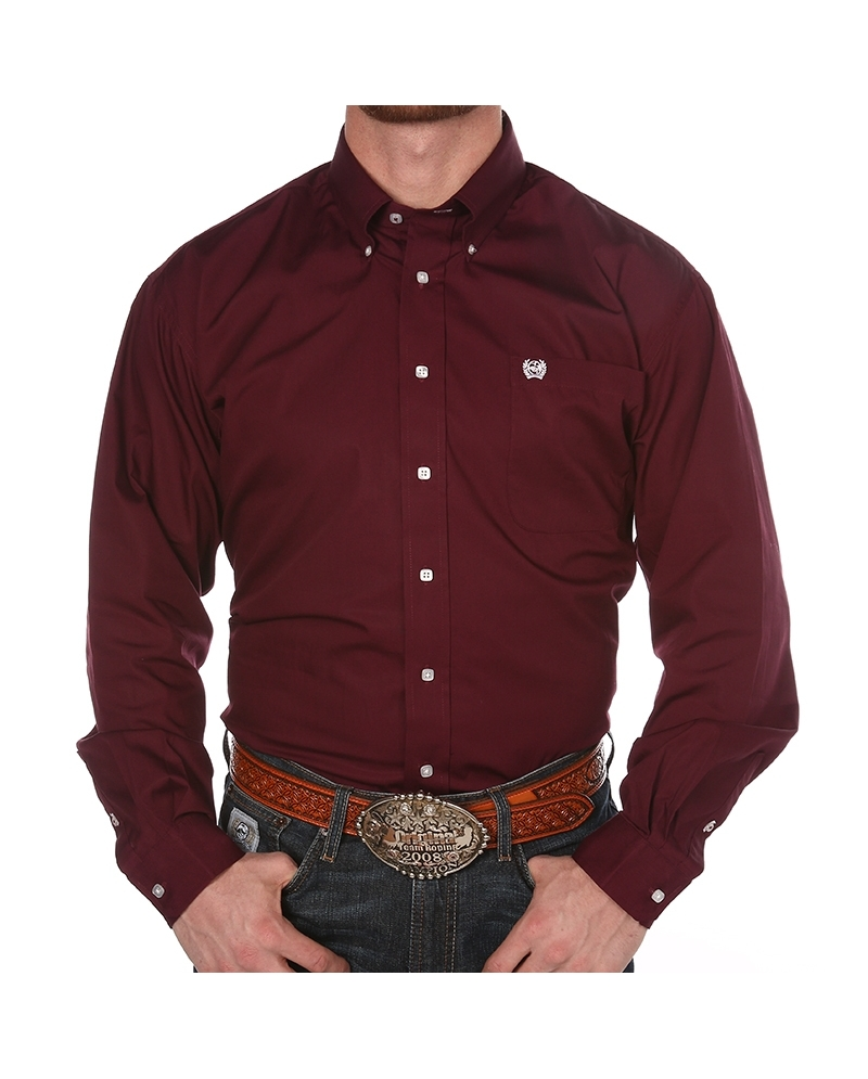 Cinch® Men's Solid Burgundy Button Down Shirt - Fort Brands