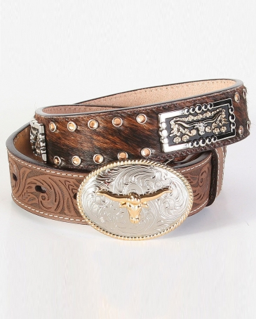 3D® Youth Leather Hair-On Belt