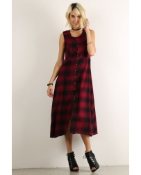 Hem & Thread® Ladies' Open Front Plaid Long Dress