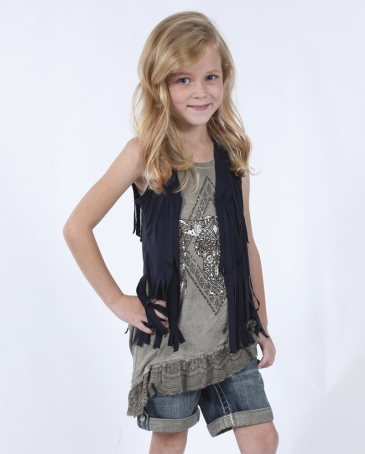 Vocal® Girls' Suede Fringe Vest