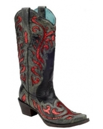 Corral Boots® Ladies' Black With Red Sequins Boots