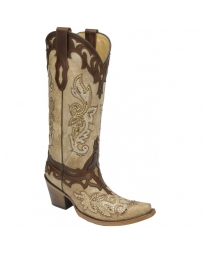 Corral Boots® Ladies' Bone Tan Studs & Crystals Boots