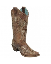 Corral Boots® Ladies' Cognac Cross & Studs Boots
