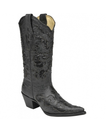 Corral Boots® Ladies' Black Goat Sequin Inlay Boots