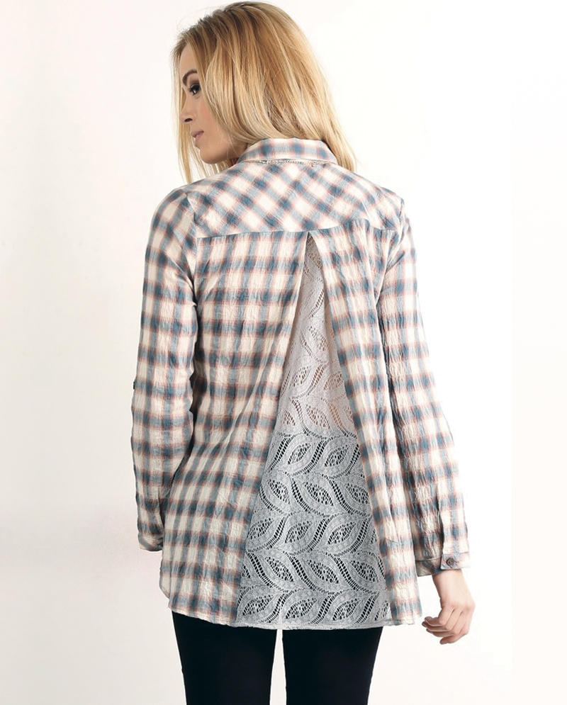 Mystree Ladies 39 Long Sleeve Plaid Shirt With Lace Back