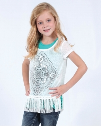 My Michelle® Girls' Lace Back Fringe Top