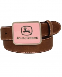 John Deere® Girls' Pink Stitch Buckle Belt