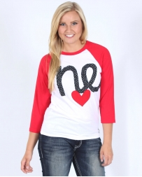 H Flynn® Ladies' I heart NE Polka Dot Baseball Tee