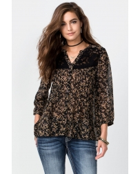 Miss Me® Ladies' 3/4 Sleeve Lace and Floral Top