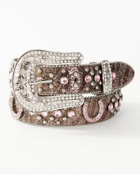 "Girls' 1 1/4"" Rhinestone Horseshoe Belt"