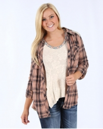 Miss Me® Ladies' Plaid Pieced Shirt