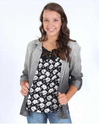 Tribal® Ladies' Ombre Gray Chambray Top