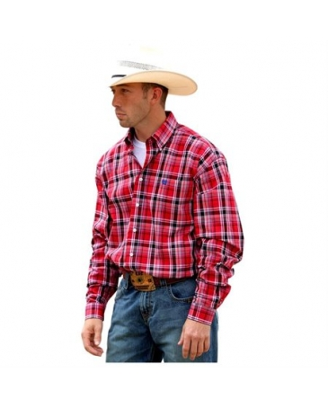 Cinch® Men's Red Long Sleeve Plaid Shirt