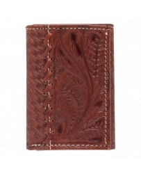 American West® Men's Tooled Leather Leaf Tri-Fold Wallet