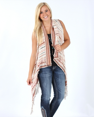 Miss Me® Ladies' Fringe Sweater Vest