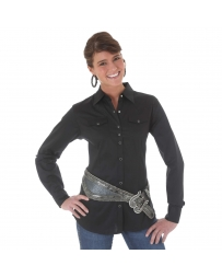 Wrangler® Ladies' Black Long Sleeve Solid Shirt