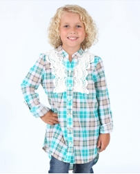 My Michelle® Girls' Lace Front Flannel Shirt