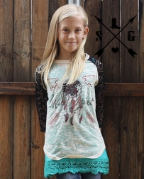 Southern Grace® Kids' Wild Spirit With Lace Sleeve Top