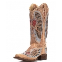 Corral Boots® Ladies' Antiqued Heart & Wing Square Toe Boots