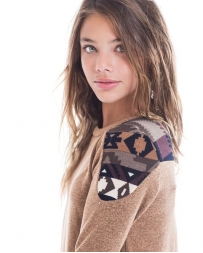 Just 1 Time® Girls' Contrast Knit Aztec Top
